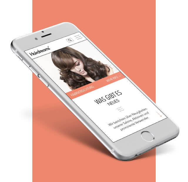 Hairdreams Website auf einem Smartphone