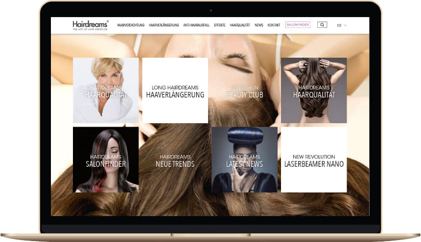 Website Hairdreams Startseite Laptop